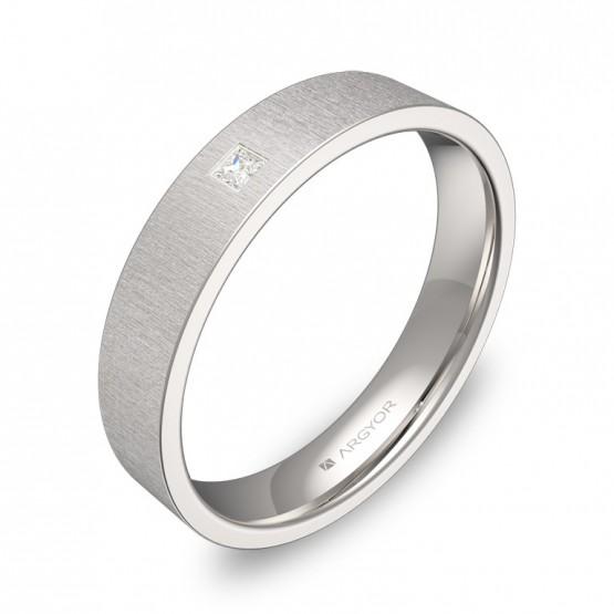 Alianza de boda 4,0mm en oro blanco con diamante B0140T1PB