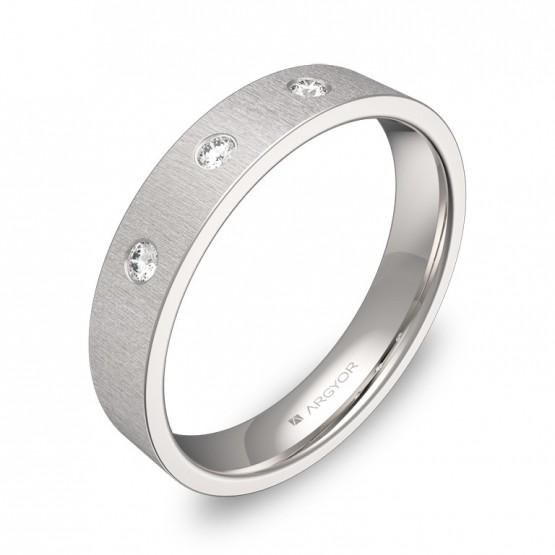 Alianza de boda 4,0mm oro blanco rayado con diamantes B0140T3BB