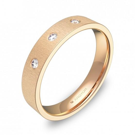 Alianza de boda 4,0mm en oro rosa rayado con diamantes B0140T3BR