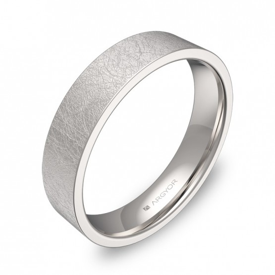 Alianza de boda plana gruesa 4,5mm en oro blanco hielo B0145H00B