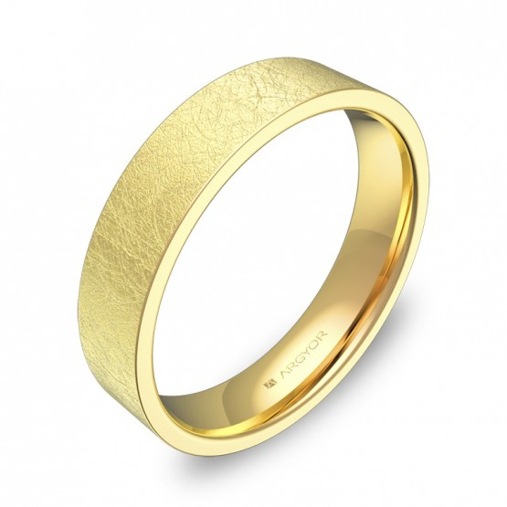 Alianza de boda plana gruesa 4,5mm en oro amarillo hielo B0145H00A