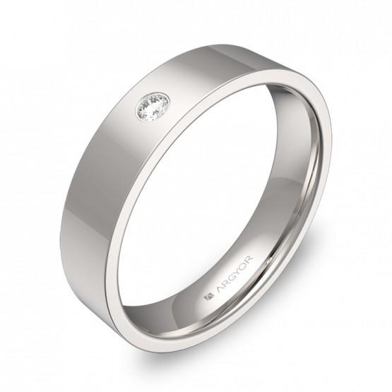 Alianza de boda en oro blanco pulido con diamante B0145P1BB