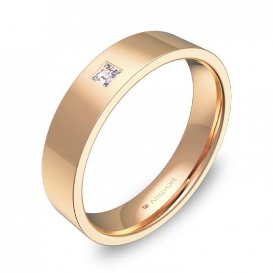 Alianza de boda en oro rosa con diamante forma plana gruesa B0145P1PR