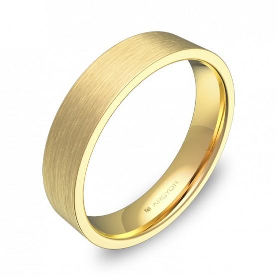 Alianza de boda plana gruesa 4,5mm en oro amarillo satinado B0145S00A
