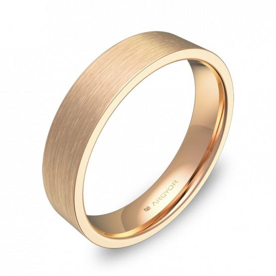 Alianza de boda plana gruesa 4,5mm en oro rosa satinado B0145S00R