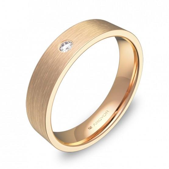 Alianza de boda de oro rosa satinado con diamante B0145S1BR