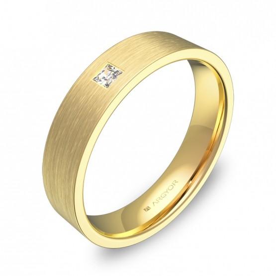 Alianza de boda oro amarillo plana gruesa con diamante B0145S1PA
