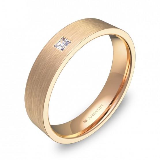 Anillo de boda con un diamante, en oro rosa satinado B0145S1PR