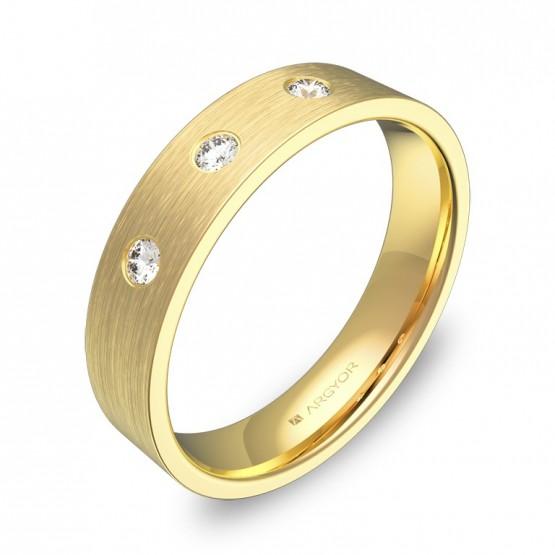 Alianza de boda de oro amarillo satinado 3 diamantes B0145S3BA