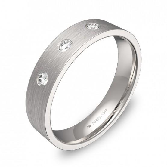 Alianza de boda en oro blanco satinado con diamantes B0145S3BB