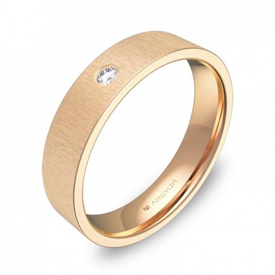 Alianza de boda oro rosa rayado con diamante B0145T1BR