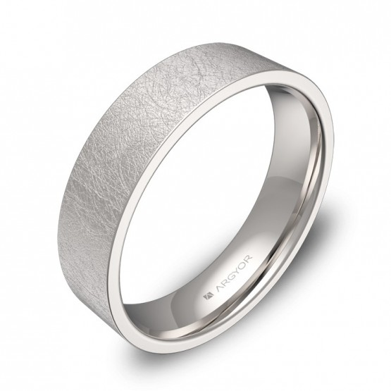 Alianza de boda plana gruesa 5,0mm en oro blanco hielo B0150H00B