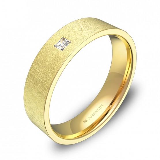 Alianza de boda en oro amarillo hielo con diamante B0150H1PA