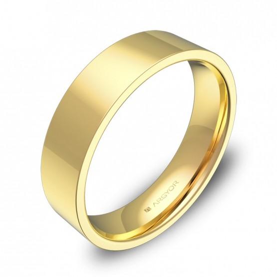Alianza de boda plana gruesa 5,0mm en oro amarillo pulido B0150P00A