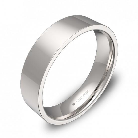Alianza de boda plana 5,0mm en oro blanco pulido B0150P00BG