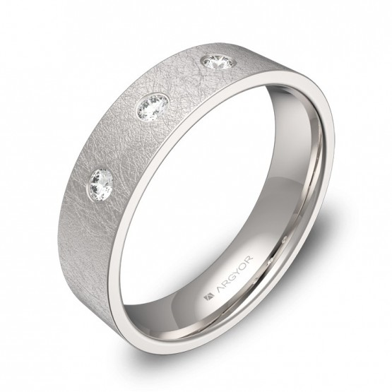 Alianza de boda en oro blanco plana gruesa con diamantes B0150H3BB