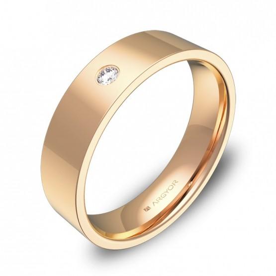 Alianza de boda de oro rosa con diamante B0150P1BR