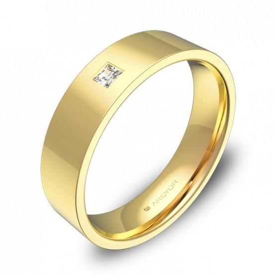 Alianza de boda en oro amarillo plana gruesa con diamante B0150P1PA