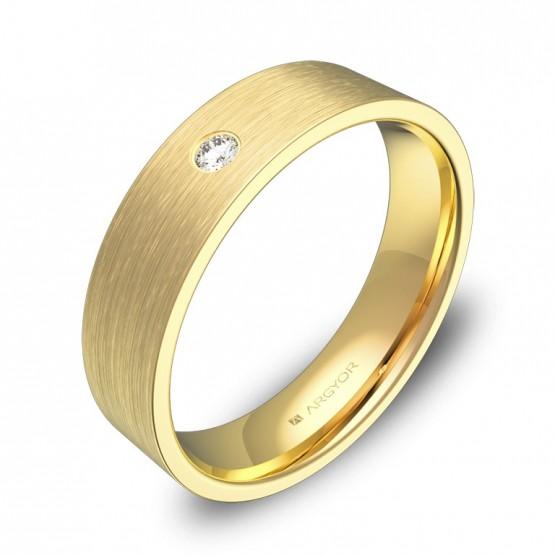 Alianza de boda 5,0mm en oro amarillo con diamante B0150S1BA