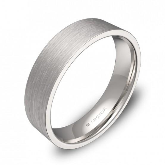 Alianza de boda plana gruesa 5,0mm en oro blanco satinado B0150S00B