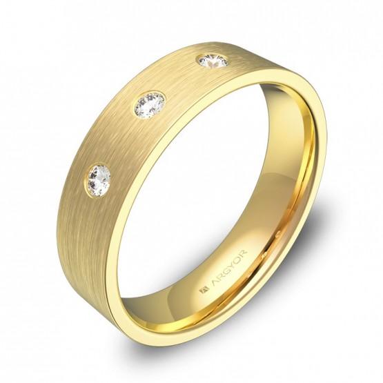 Alianza de boda plana gruesa en oro satinado con diamantes B0150S3BA