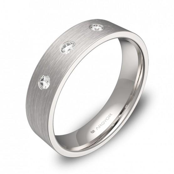 Alianza de boda 5mm oro blanco satinado con diamantes B0150S3BB