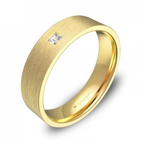 Alianza de boda de oro amarillo satinado con 1 diamante B0150S1PA