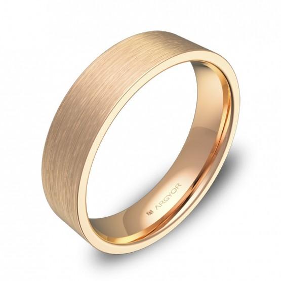 Alianza de boda plana gruesa 5,0mm en oro rosa satinado B0150S00R