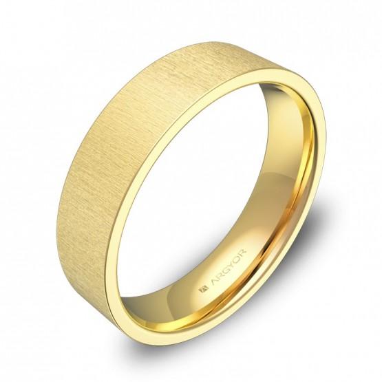 Alianza de boda plana gruesa 5,0mm en oro amarillo rayado B0150T00A