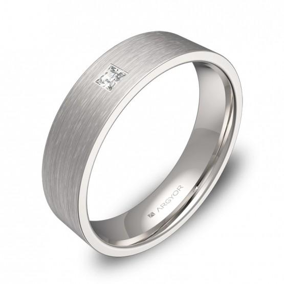 Alianza de boda plana gruesa oro blanco con diamante B0150S1PB