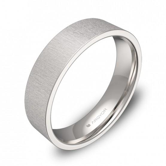Alianza de boda plana gruesa 5,0mm en oro blanco rayado B0150T00B
