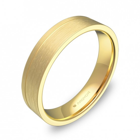 Alianza de boda con ranuras 4,5mm en oro amarillo satinado C0245S00A