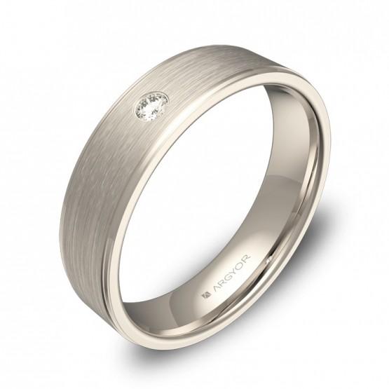 Alianza de boda en oro blanco con diamante y biseles C0150C1BB