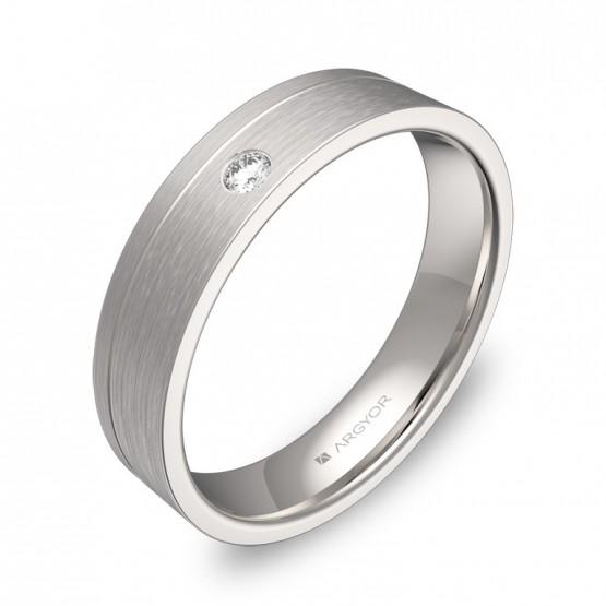 Alianza de boda con ranuras 4,5mm oro blanco con diamante C0245S1BB