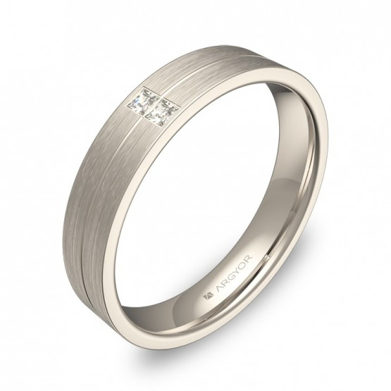 Alianza de boda plana con ranuras en oro blanco 2 diamantes C0340S2PB