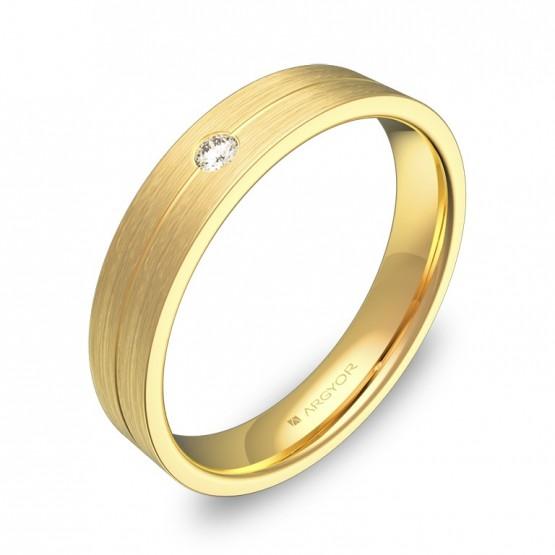 Alianza de boda 4mm oro amarillo satinado con diamante C0340S1BA