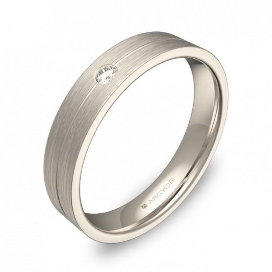Alianza de boda con ranuras oro blanco satinado 1 diamante C0340S1BB