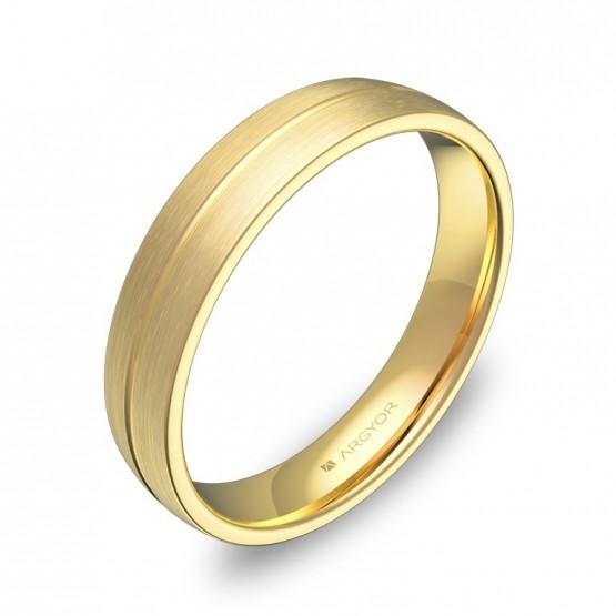 Alianza de boda media caña con ranuras 4mm en oro amarillo C0440S00A