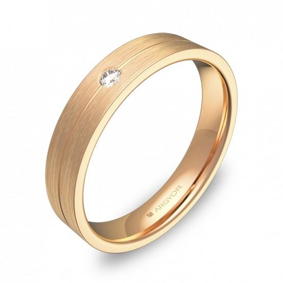Alianza de boda con ranuras 4mm en oro rosa con diamante C0340S1BR