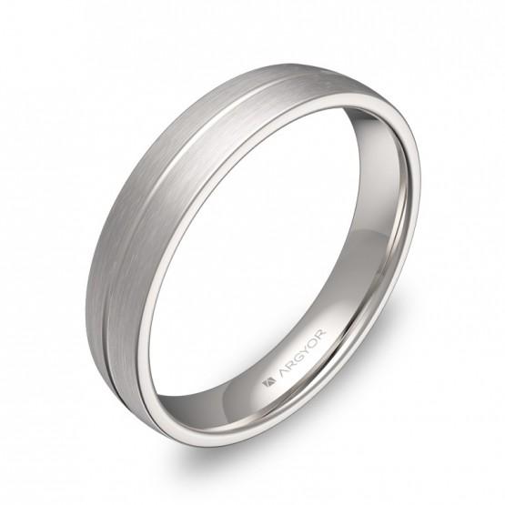 Alianza de boda de media caña con ranuras en oro blanco C0440S00B
