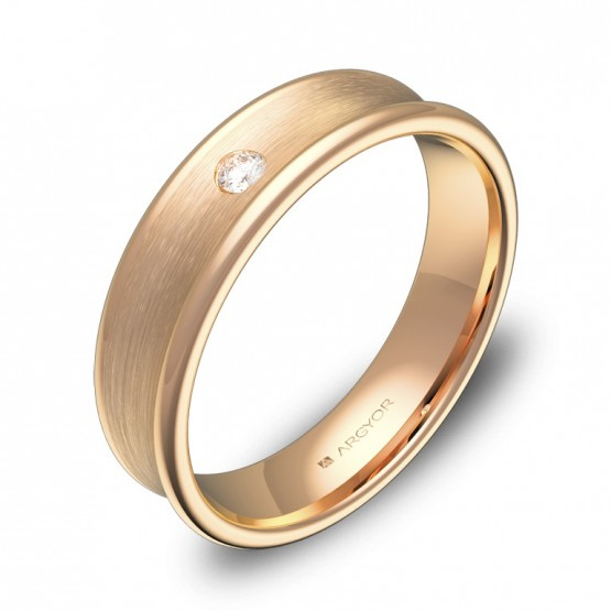 Alianza de boda cóncava oro rosa con diamante C0750C1BR