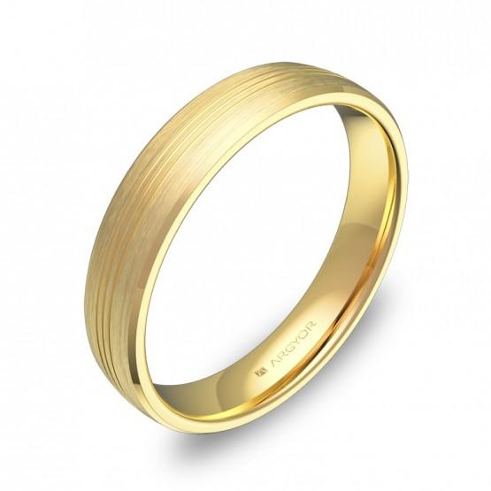 Alianza de boda de oro satinado con ranuras 4mm C0840S00A