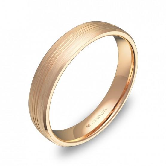 Alianza de boda media caña con ranuras en oro rosa satinado C0840S00R