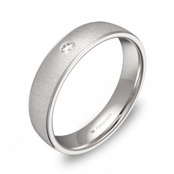 Alianza de boda 4,5mm en oro blanco textura con diamante C0645T1BB