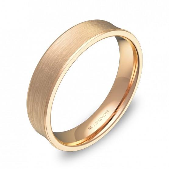 Alianza de boda cóncava 4,5mm en oro rosa satinado C1145S00R
