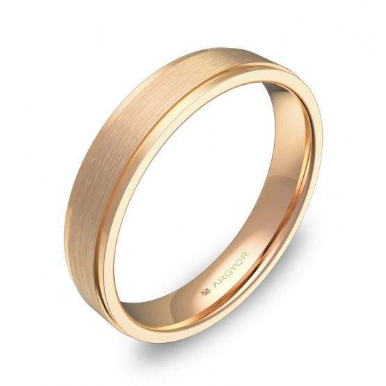 Alianza de boda oro rosa forma 4mm plana con biseles C1040C00R