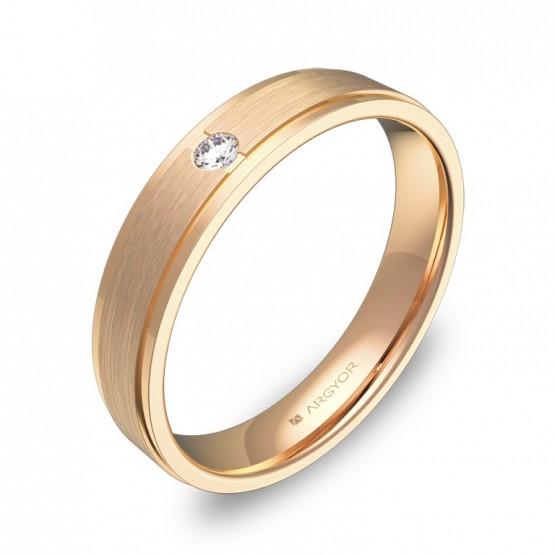 Alianza de boda plana con biseles 4mm oro rosa con diamante C1040C1BR