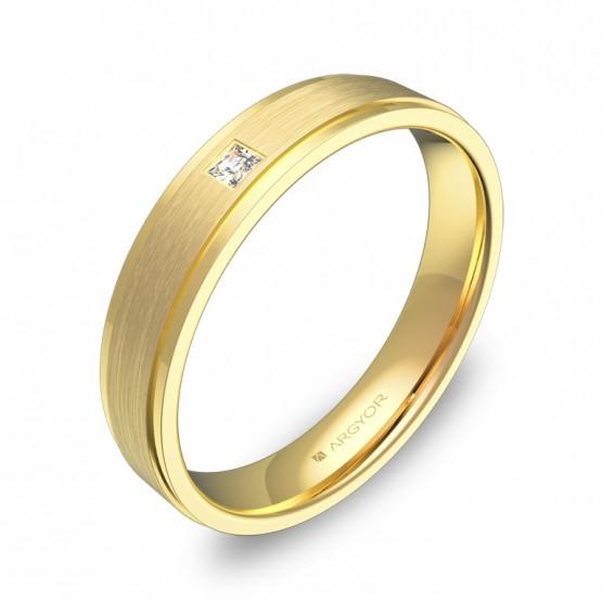 Alianza de boda con biseles en oro amarillo con diamante C1040C1PA
