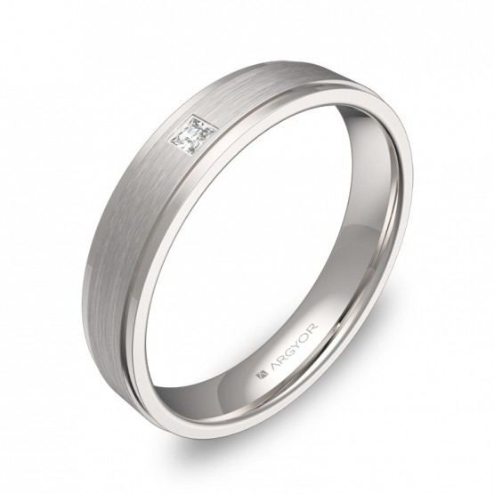 Alianza de boda 4mm en oro blanco con diamante C1040C1PB