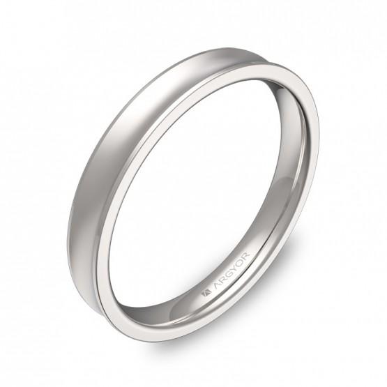 Alianza de boda cóncava 3mm en oro blanco combinado C1330C00B